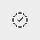 Значок контрольной пометки в плоском дизайне в черном цвете Иллюстрация EPS10 вектора Стоковые Изображения RF