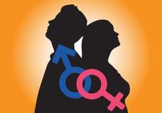 Значок концепции женщин человека оранжевый стоковое изображение