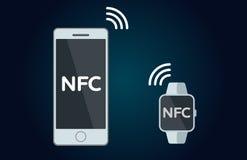Значок концепции NFC плоский Стоковые Изображения