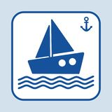 Значок корабля Анкер знака тема голубого морского моря безшовная Темно-синий силуэт также вектор иллюстрации притяжки corel иллюстрация штока