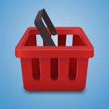 Значок корзины для товаров, на голубой предпосылке Стоковые Изображения