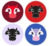 Значок коровы плоский на красочной предпосылке 7 животных серий иллюстрации фермы шаржа Вектор головы коровы иллюстрация штока