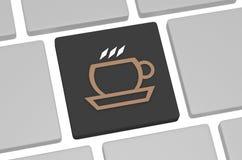 Значок кофе на клавиатуре на белой предпосылке Стоковая Фотография