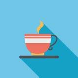 Значок кофе плоский с длинной тенью Стоковые Фотографии RF