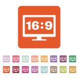Значок 9 коэффициента сжатия 16 широкоэкранный ТВ и видео- символ плоско Стоковое Изображение RF
