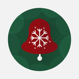 Значок колокола рождества плоский с длинной тенью Стоковая Фотография