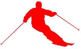 Значок красного лыжника плоский на белой предпосылке бесплатная иллюстрация