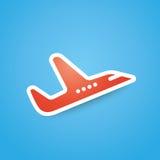 Значок красного самолета, самолета на голубой иллюстрации вектора предпосылки Стоковые Изображения RF