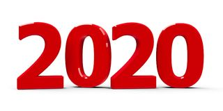 Значок 2020 красного цвета Стоковое Изображение RF