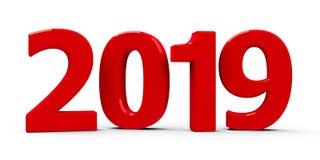 Значок 2019 красного цвета Стоковое фото RF