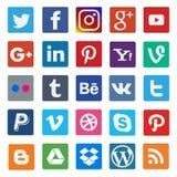 Значок красочных социальных средств массовой информации плоский на популярном бесплатная иллюстрация