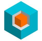 Значок куба равновеликого duotone 3d схематический Геометрический куб для st Стоковые Фотографии RF