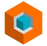 Значок куба равновеликого duotone 3d схематический Геометрический куб для st Стоковые Изображения RF