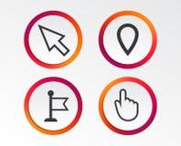 Значок курсора мыши Символы указателя руки или флага Стоковое Изображение