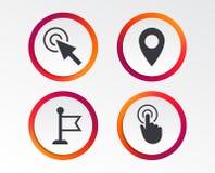 Значок курсора мыши Символы указателя руки или флага Стоковая Фотография RF