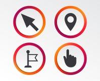 Значок курсора мыши Символы указателя руки или флага Стоковое фото RF