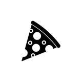 Значок куска пиццы твердый, элементы питья еды иллюстрация штока