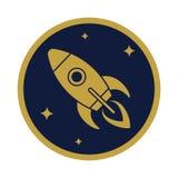 Значок летания Ракеты в круге бесплатная иллюстрация