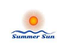 Значок логотипа волны и солнца иллюстрация штока