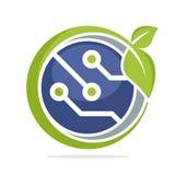 Значок логотипа для зеленого дела технологии, экологически дружелюбный Бесплатная Иллюстрация