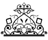 E значок логотипа кроны вектора элегантный украшенный с изолированной звездой иллюстрация вектора