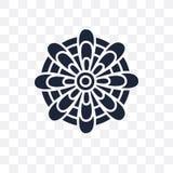 Значок мандалы прозрачный Дизайн символа мандалы от colle Индии иллюстрация вектора