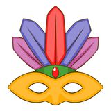Значок маски масленицы, стиль шаржа Стоковая Фотография