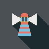 Значок маяка плоский с длинной тенью Стоковые Изображения RF