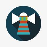 Значок маяка плоский с длинной тенью Стоковое Изображение RF