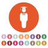 Значок мальчика студента Школа и академия, коллеж, символ образования плоско иллюстрация вектора