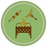 Значок медника, kebab и сосиски Бесплатная Иллюстрация