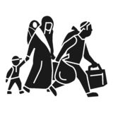 Значок мигрирующих отпусков по семейным обстоятельствам домашний, простой стиль иллюстрация вектора