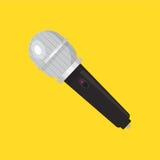Значок микрофона Иллюстрация вектора прибора Плоский дизайн стиля с длинной тенью Стоковое Изображение RF