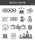 Значок минирования Bitcoin установил 1 Стоковые Изображения RF