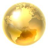 Значок мира земли золота Стоковые Изображения RF