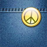 Значок мира на куртке текстуры ткани джинсовой ткани Стоковые Фотографии RF