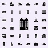Значок 2 многоэтажных зданий расквартируйте комплект значков всеобщий для сети и черни иллюстрация вектора