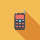 Значок мобильного телефона плоский с длинной тенью Стоковое Фото