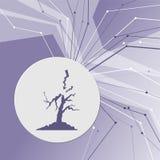 Значок молнии и дерева на фиолетовой абстрактной современной предпосылке Линии во всех направлениях С комнатой для вашей рекламы Стоковое Изображение RF