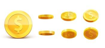 Значок монетки вектора 3d золотых монеток падая реалистический с тенями Стоковые Фото