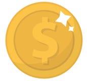 Значок монетки, плоский дизайн Золотые монетки, цент, изолированный на белой предпосылке Деньги для передвижных применений и игр  Стоковая Фотография