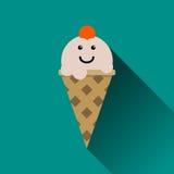 Значок мороженого плоский иллюстрация изолированная на сини Стоковые Фото