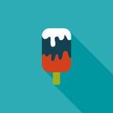 Значок мороженого плоский с длинной тенью Стоковое Изображение RF