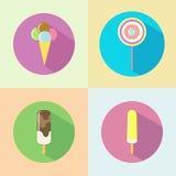 Значок мороженого плоский с длинной тенью Стоковые Фото