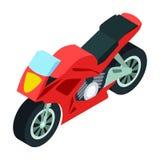 Значок мотоцикла в стиле шаржа изолированный на белой предпосылке Иллюстрация вектора запаса символа транспорта Стоковая Фотография