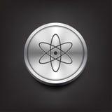 Значок молекулы на серебряной кнопке Стоковые Изображения