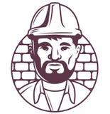 Значок мужских построителя или мастера в шлеме на предпосылке кирпича план характера на белизне иллюстрация штока