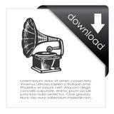 Значок музыки загрузки Стоковые Изображения RF