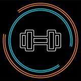Значок мышцы поднимаясь, штанга фитнеса, значок спортзала, гантели тренировки изолировал, символ поднятия тяжестей вектора иллюстрация штока