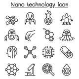Значок нанотехнологии установленный в тонкую линию стиль Стоковые Фотографии RF